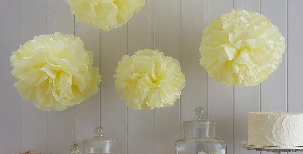 Vintage Lace - Tissue Paper Pom Poms - Pastel Yellow