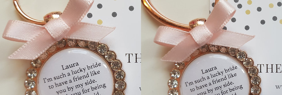 Rose Gold Bridesmaid Maid of Honour Keyring