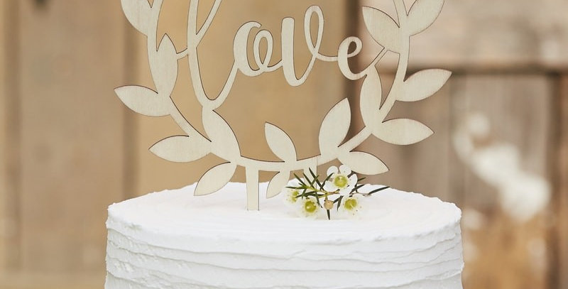 Wooden Love Cake Topper - Rustic Country