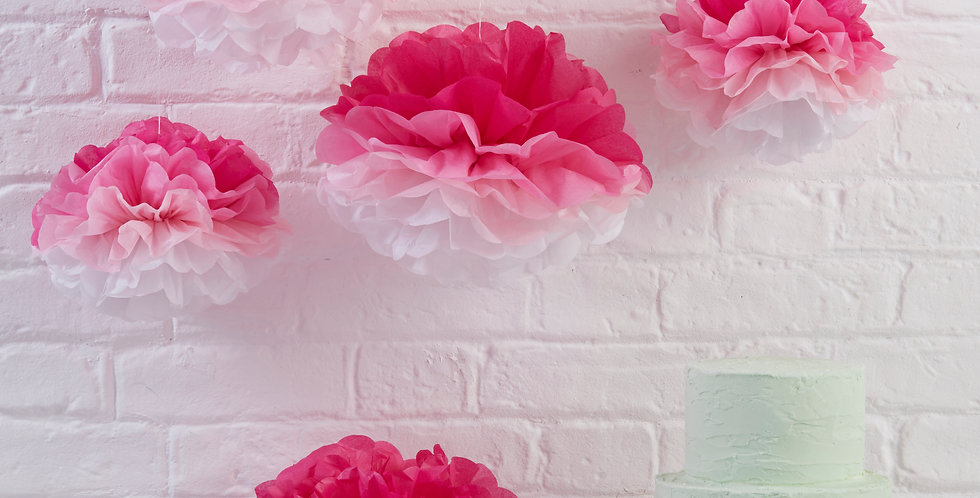 Pink Ombre Tissue Paper Pom Poms - Pick & Mix