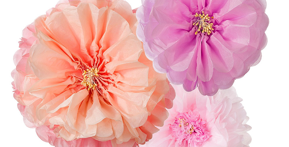Decadent Blush Flower Pom Poms