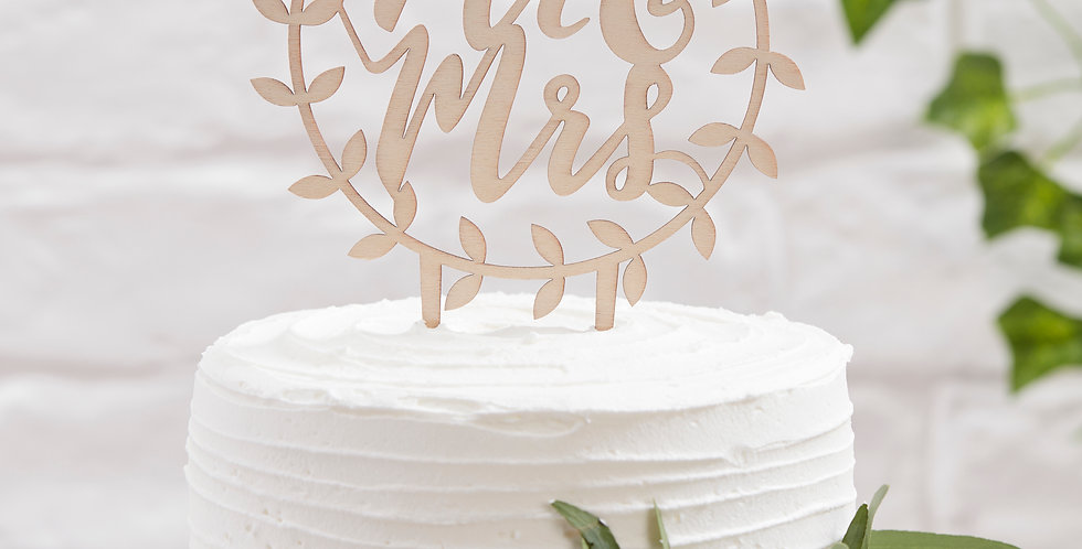 Wooden Mr & Mrs Script Cake Topper - Beautiful Botanics
