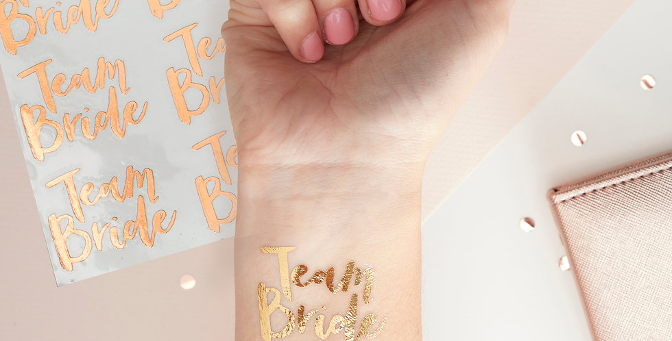 Hen Party Rose Gold Team Bride Temporary Tattoos - Team Bride
