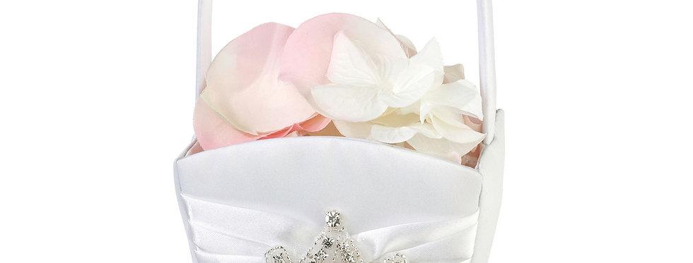 Lillian Rose Elegant White Jeweled Flower Girl Basket