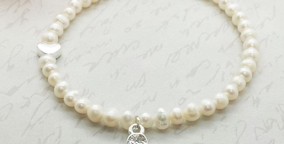 Thank You Flower Girl - Pearl & Flower Bracelet