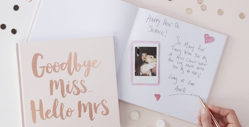 Rose Gold Foiled Goodbye Miss Hello Mrs Advice Book- Team Bride