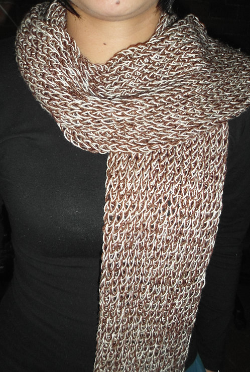 Bufanda tejido a mano doble cafe
