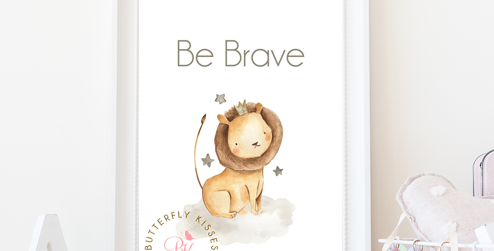 Be Brave Lion Zoo Jungle 8x10 Nursery Art Print