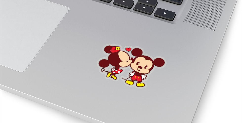 Minnie Kisses Mickey retro die cut sticker