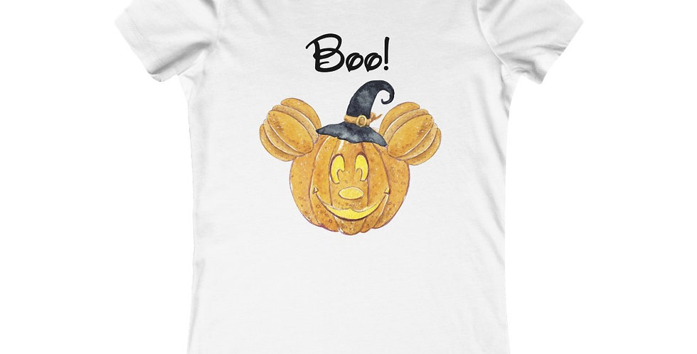 Boo! Mickey Pumpkin Head women's t-shirt