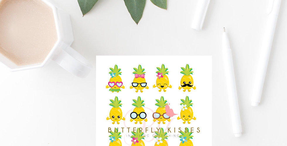 Pineapple stickers 3x5