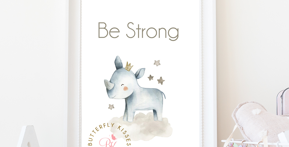Be Strong Rhino Zoo Jungle 8x10 Nursery Art Print