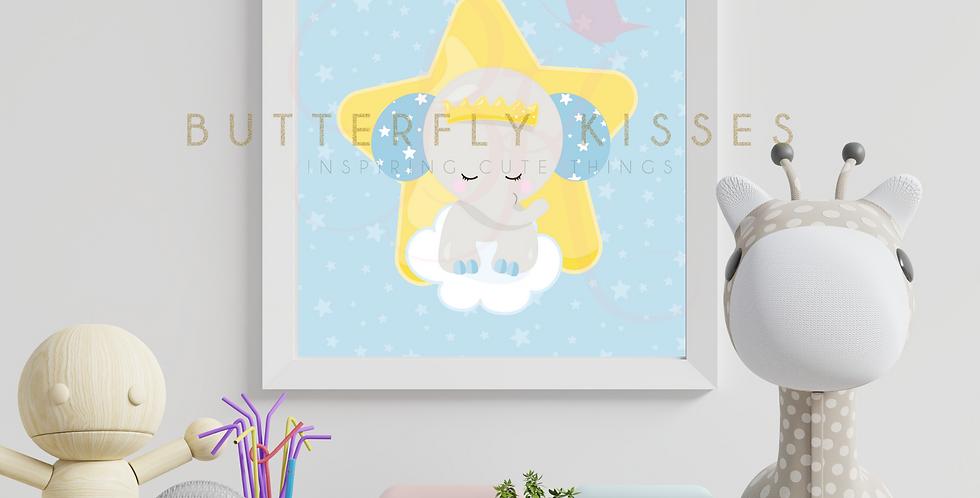 Little Prince Elephant Boy digital nursery art print