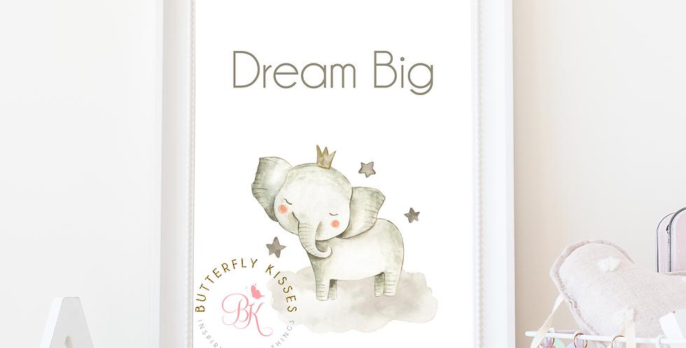 Dream Big Elephant Zoo Jungle 8x10 Nursery Art Print
