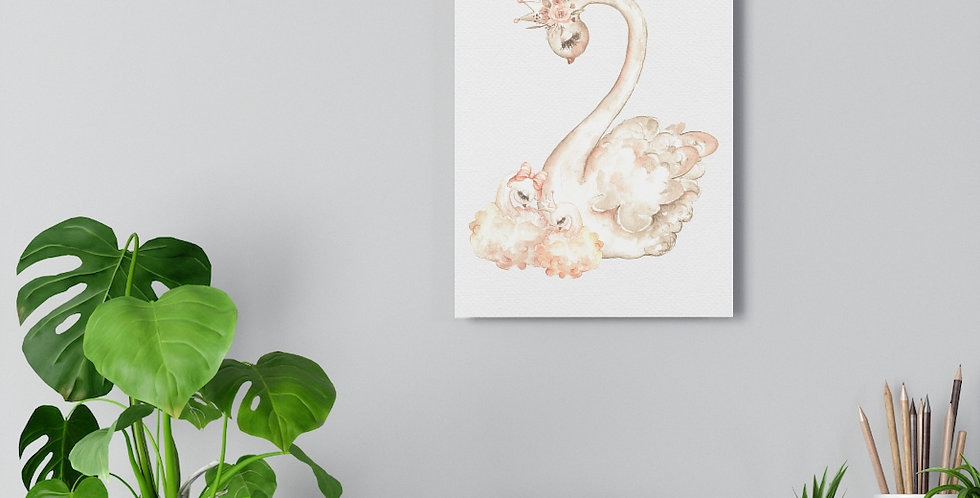 Swan with swanling Giclée Art Print