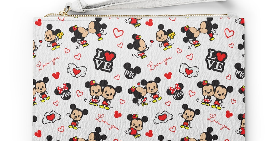 Mickey & Minnie Mouse in Love Clutch Bag