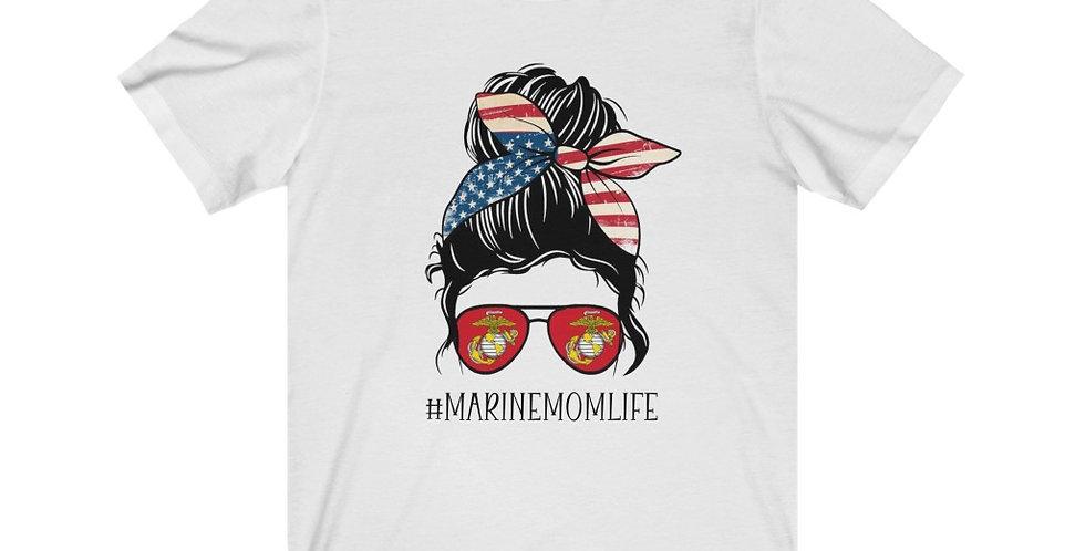 Marine Mom Life Messy Bun T-shirt