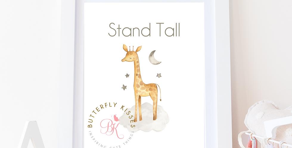 Stand Tall Giraffe Zoo Jungle 8x10 Nursery Art Print