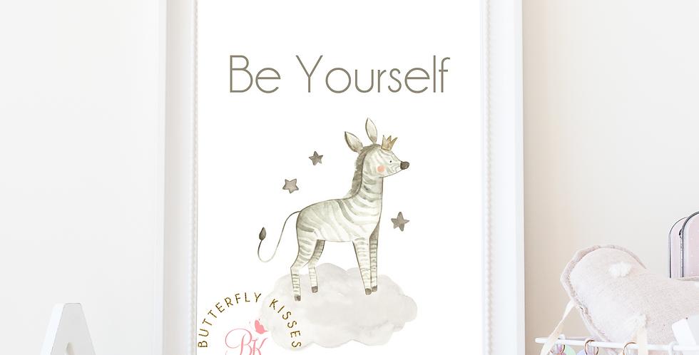Be Yourself Zebra Zoo Jungle 8x10 Nursery Art Print