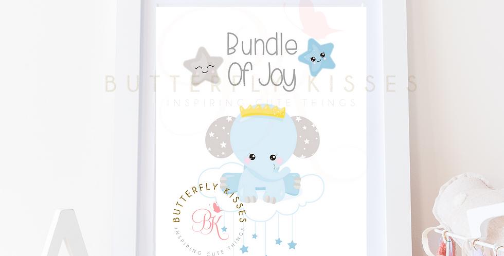 Bundle Of Joy Blue Elephant Digital Nursery Art Print