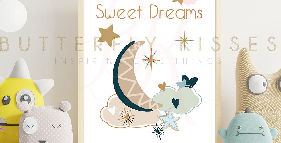 Sweet Dreams Boho Crescent Moon Nursery Art Print