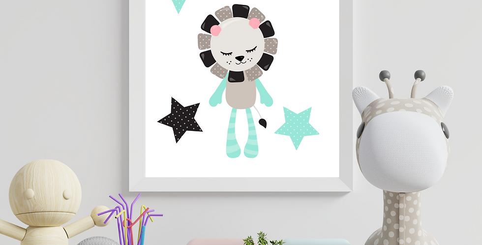 Sweet Dreams Scandinavian Lion Digital nursery Art Print
