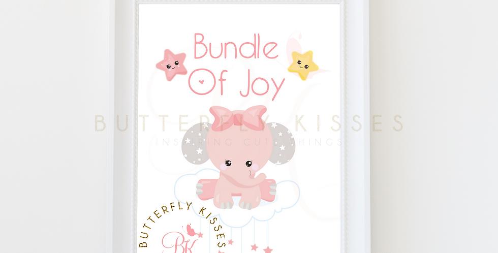 Bundle Of Joy Pink Elephant Digital Nursery Art Print