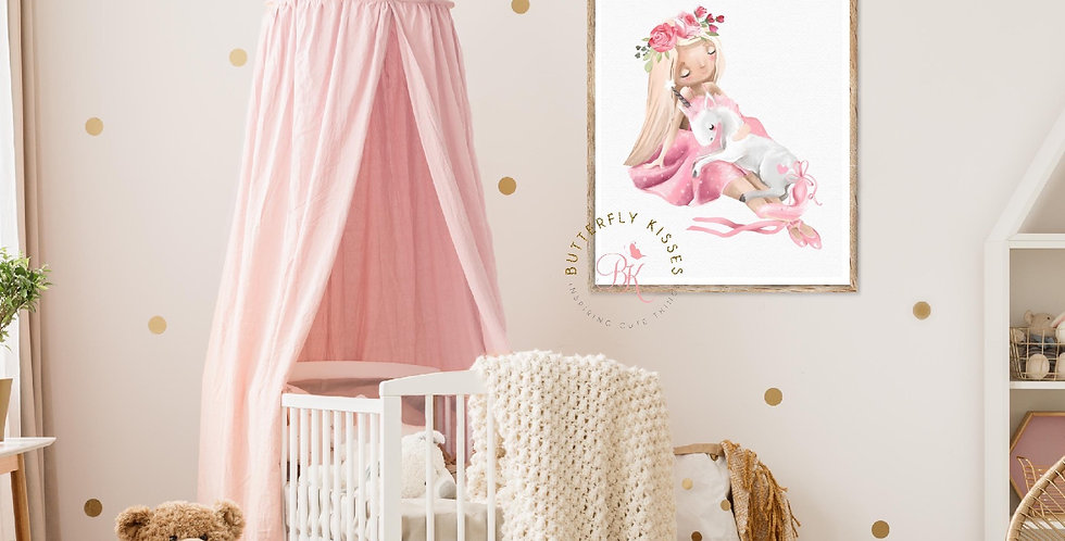 Blonde Ballerina & Unicorn Giclée Art Print