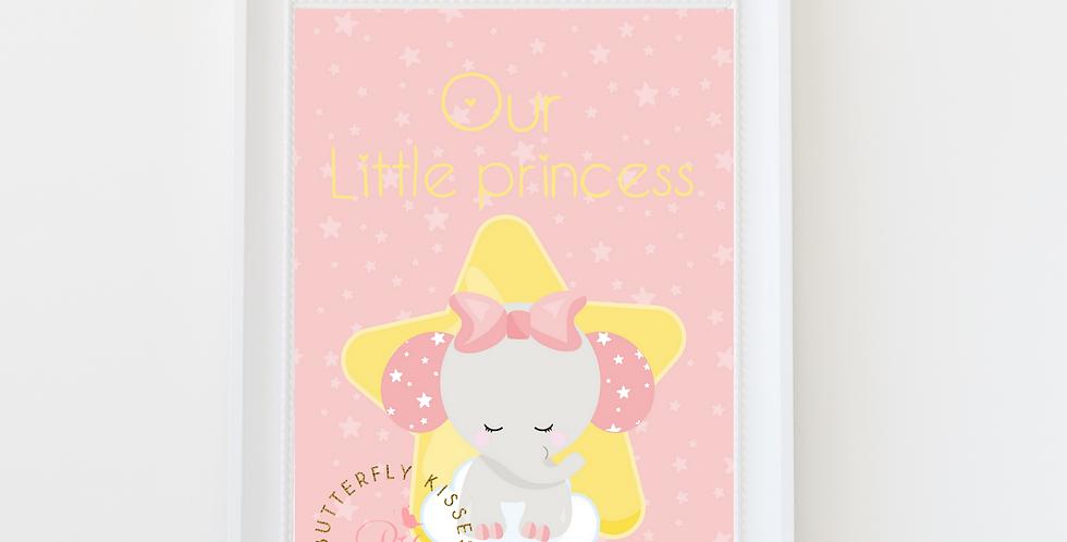 Our Little Princess Elephant Girl digital nursery art print