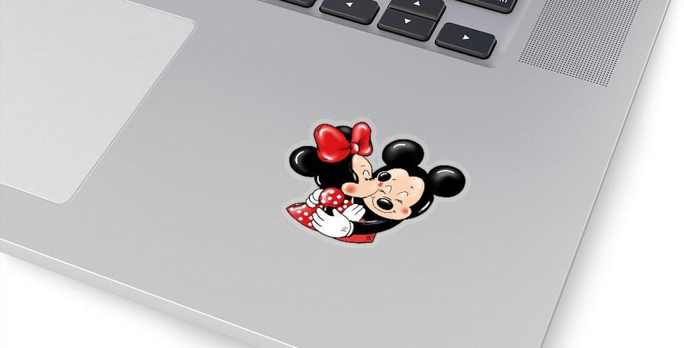 Mouse Hugs n Kisses Red die cut sticker