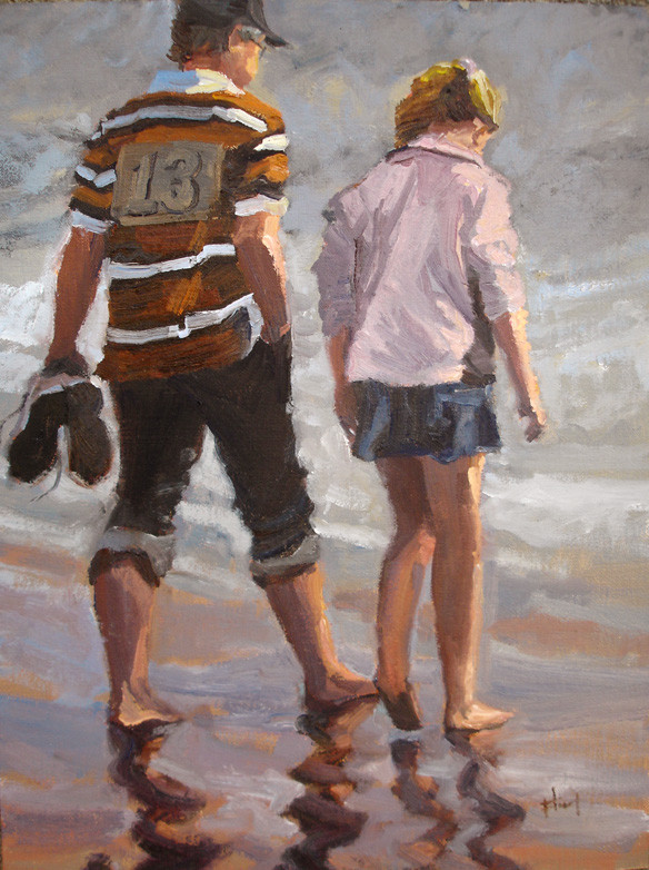 A walk with Kalyn, 12x16, private collection