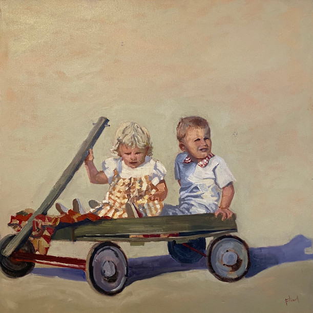 Siblings in tow, 24x24, private collecti