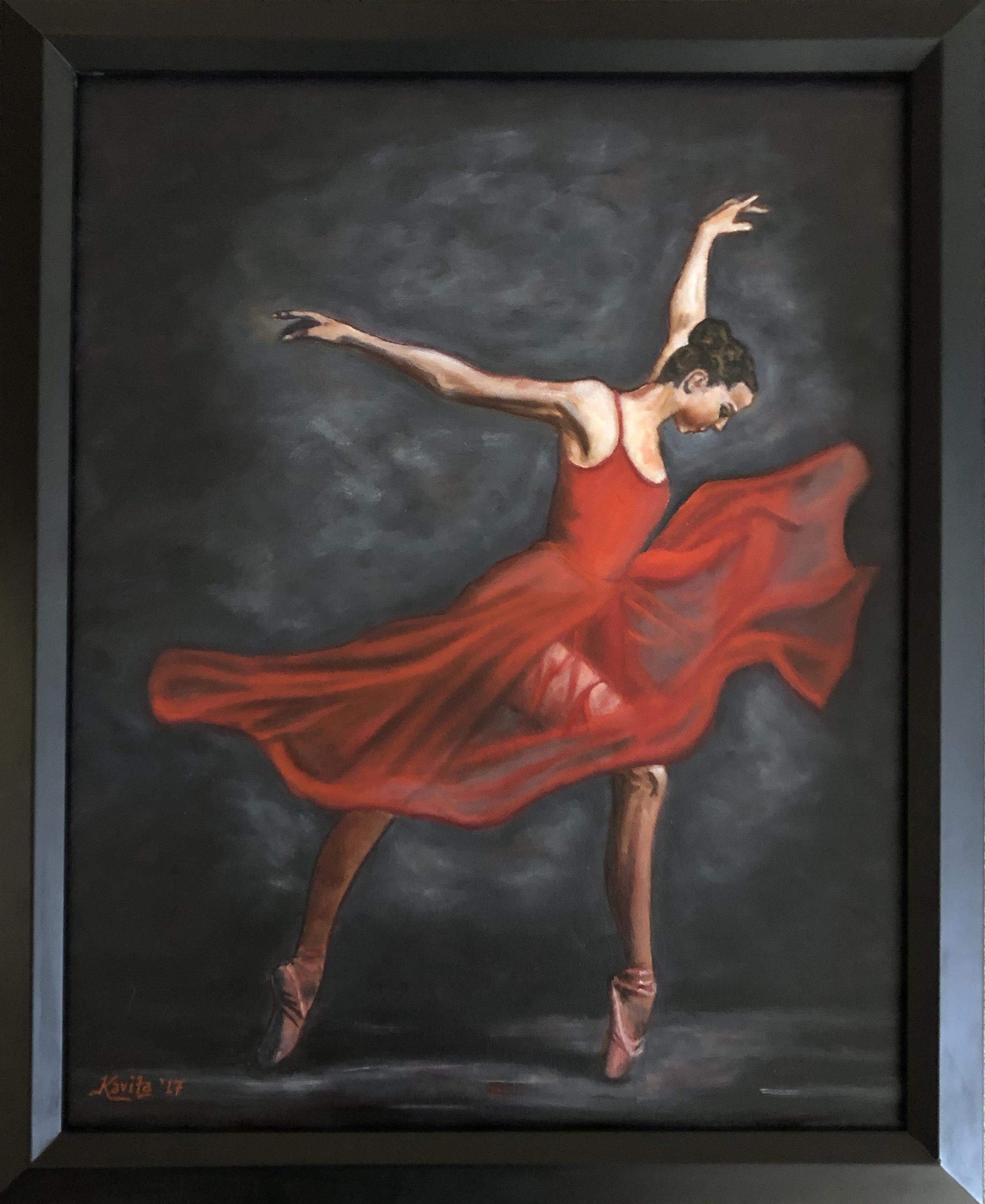 """""""Dancer in Red"""" - framed"""