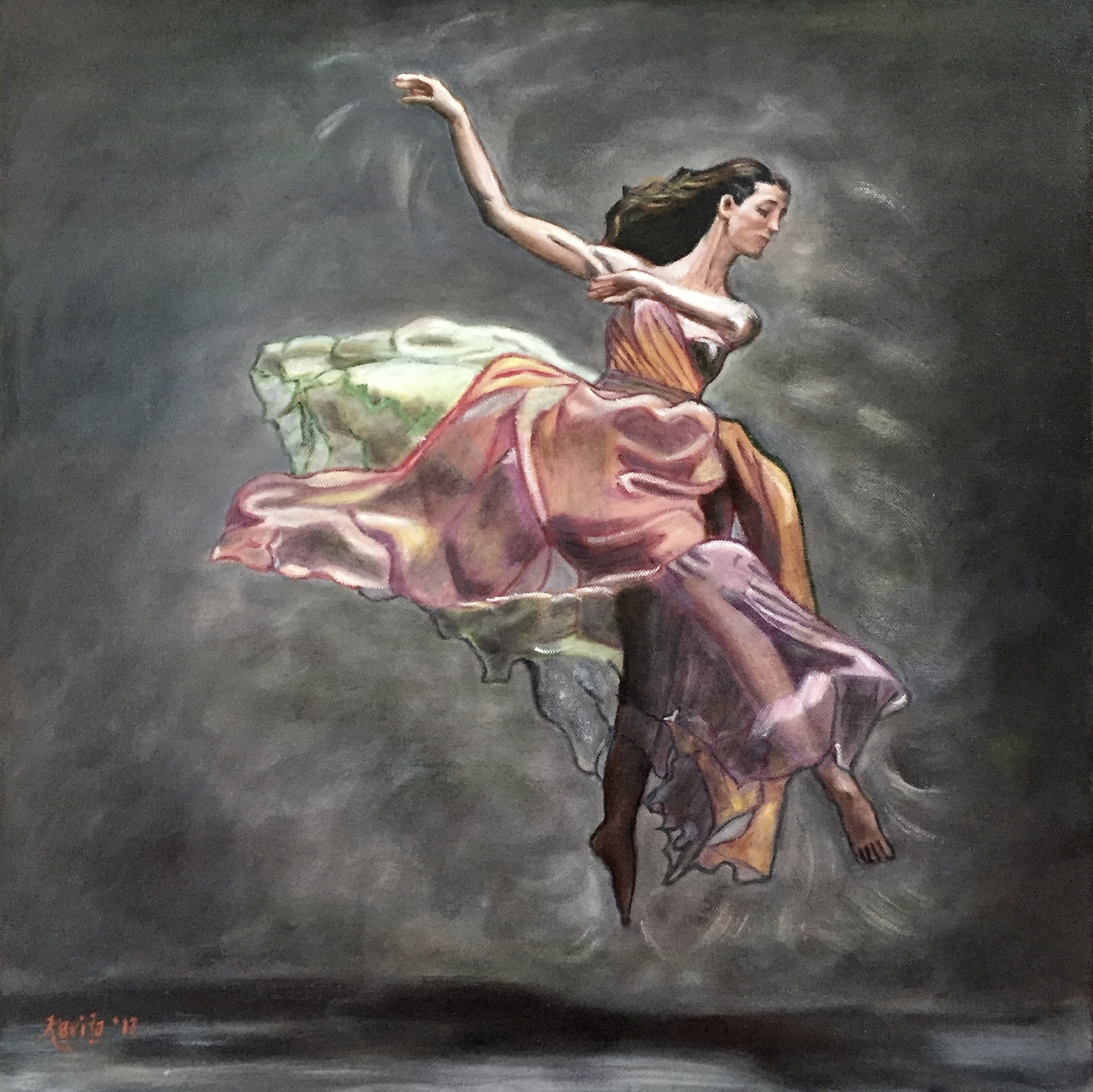"""Dancer in Multi-Colored Dress"""