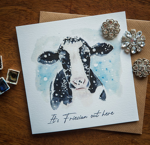 'It's Friesianout here' Christmas greetings card