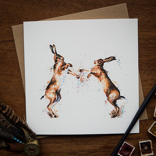 'Boxing Hares' Greetings Card