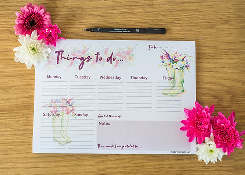 Flowers in Wellies - Weekly A4 Notepad