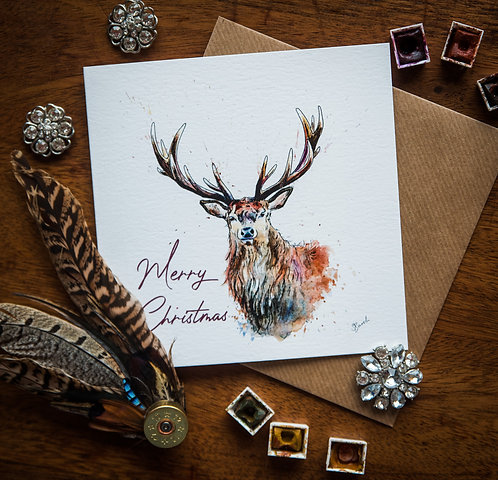 Festive Stag - Christmas Greetings Card