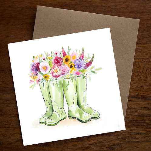 Flowers in two wellies - Pack of 10