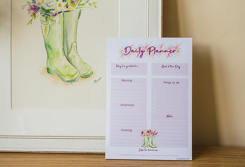 Flowers in wellies - A5 daily planner