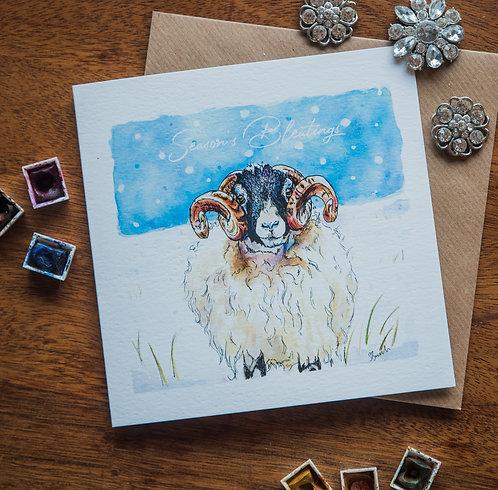 Season's Bleatings - Swaledale in the snow greetings card
