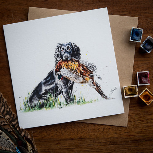 'Cocker and a Pheasant' Greetings Card