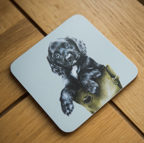 Spaniel in a welly coaster - Pack of 10