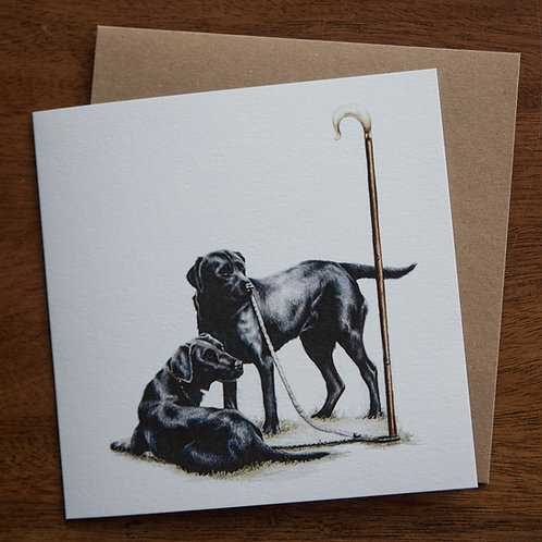 'Labs on Peg' Greetings Card