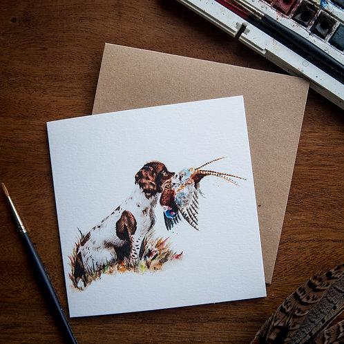 'Springer and Pheasant' Greetings Card