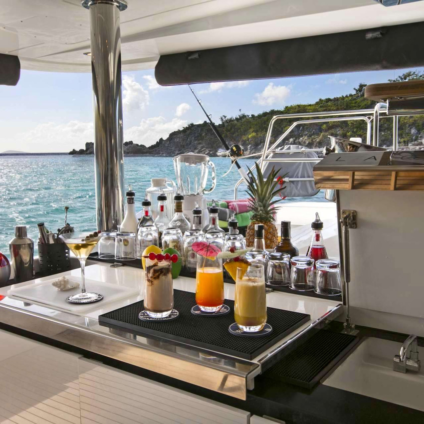 The bar onboard Catamaran Callista is ready for yacht charters!