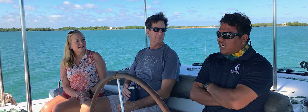 Captain Ruben Trejo aboard Catamaran Nera with Capt. Randy and Shelly Tucker