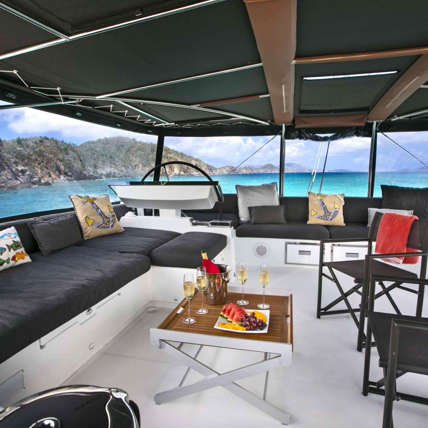 Catamaran Callista has a large flybridge with 360 degree views.