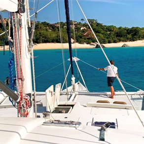 Having Fun on 62' Yacht Charter Catamaran The Big Dog in the British Virgin Islands!