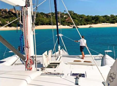 Having Fun on 62' Yacht Charter Catamaran The Big Dog in the British Virgin Islands!
